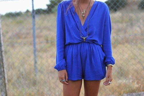 cobalt deep v long sleeve romper