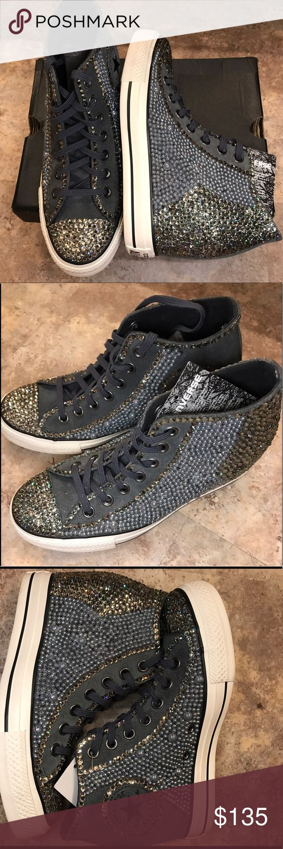 Converse Wedge Tennis Shoe Custom Bling Converse Wedge Tennis Shoe, Custom Bling, Grey suede/nubuk, Swarovski crystals, pearls, super cute on. Gorgeous👟🌸 Converse Shoes Wedges
