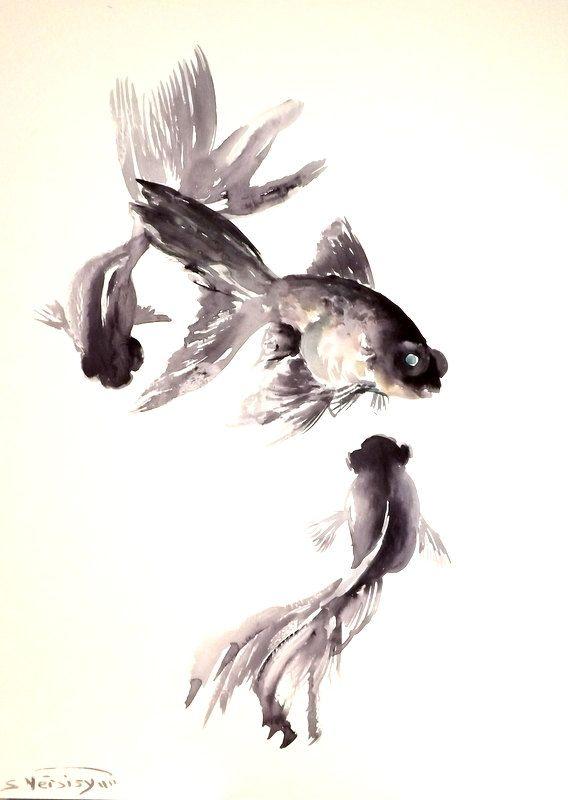Black+Moor+goldfish+original+watercolor+painting+by+ORIGINALONLY,+$42.00
