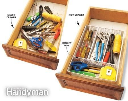 Fit a large cutlery tray in the drawer to organize the tools so you can see and grab the one you want in a second. The tray is easy to lift out and carry to a job, and if you use a metal mesh tray, dust can't build up between the tools. Read more: http://www.familyhandyman.com/tools/storage/savvy-home-tool-storage/view-all#ixzz3Q4oZr3Mf