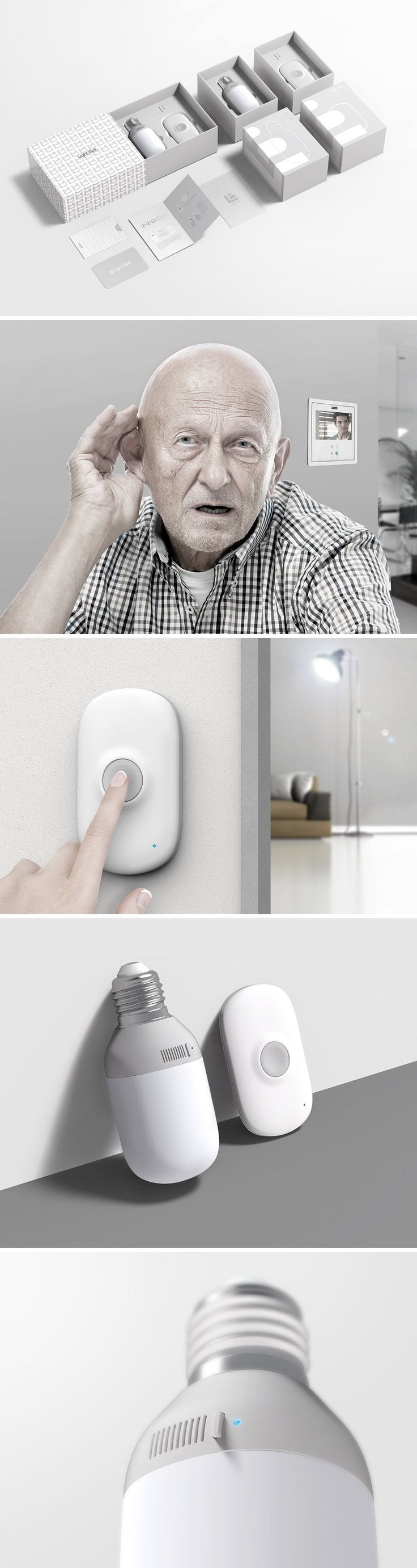 Light Bell was conceived to inform deaf users when there's a visitor at the door. Instead of a regular chime, the doorbell triggers a light signal using a specialized Bluetooth bulb. When the button is pressed, the light is wirelessly triggered to indicate the presence of someone at the door.