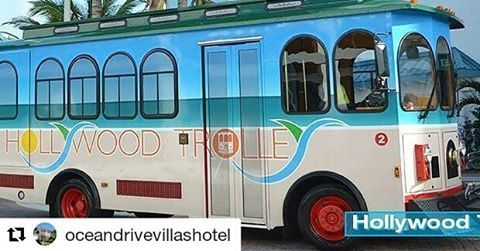Credit to #oceandrivevillashotel  ・・・ HOLLYWOOD TROLLEY:ALL ABOARD!  Come and explore the many things to see and do in Hollywood. From dining and cultural activities in Historic Downtown to exploring our good nature in North Beach and oceanfront dining, shopping and recreation in central and south beach, you'll see why Hollywood has been named an All-America city and one of Fodor's best beaches for families. The Hollywood Trolley is extremely popular. We had over 70,000 passengers in 2012…