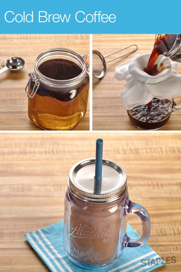 Not your typical iced coffee! Add 1 cup of coffee grounds and 6 cups of water to a large bowl. Cover and let sit overnight. In the morning, pour into a pitcher, straining coffee grounds with a few coffee filters or a strainer and cheesecloth. Voila, homemade cold brew coffee!