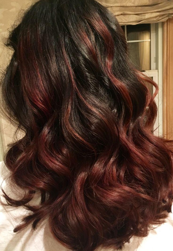 Dark brown burgundy maroon bayalage hair