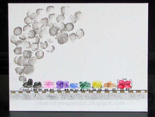 Love this: Thumbprint/Fingerprint Freight Train!