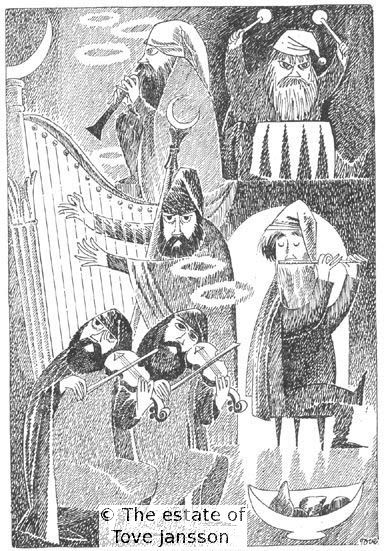 Tove Jansson's illustrations to J. R. R. Tolkien: Bilbo – en hobbits äventyr, Rabén & Sjögren, 1962, p. 21 - The dwarves making music