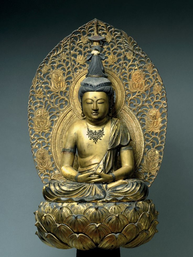 Buddha Dainichi Nyorai Japan Muromachi period 15th century Wood, gilding, and smoked patina, iron jewelry Height: 57cm