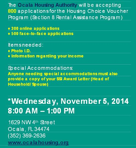Section 8 Wait List Opening In Ocla Florida Image