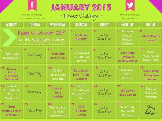 January Fitness Challenge -- 2015 Fit Babe Workout Calendar >> START ANYTIME<< via www.myfitstation.com