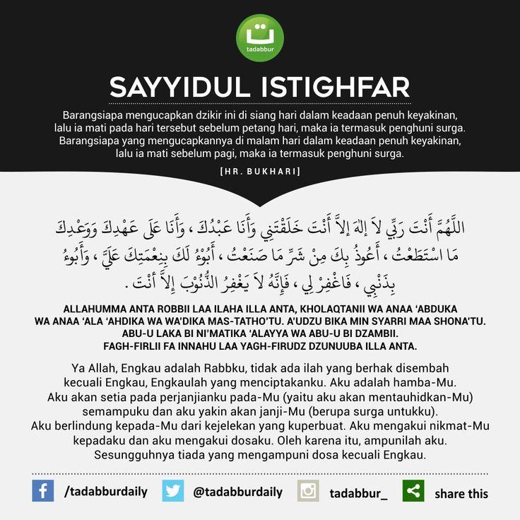 Bacaan Doa Sayyidul Istighfar Tulisan Arab, Latin, Arti