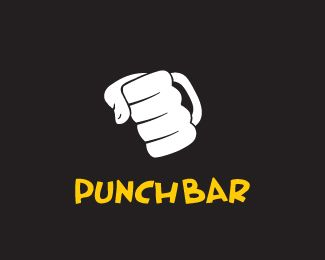 Punch Bar Logo design - Ouch!! This is an ambiguity scene!!... a fist and a beer jar.It is not a violence message!! It's just a nice and funny pun. Price $250.00
