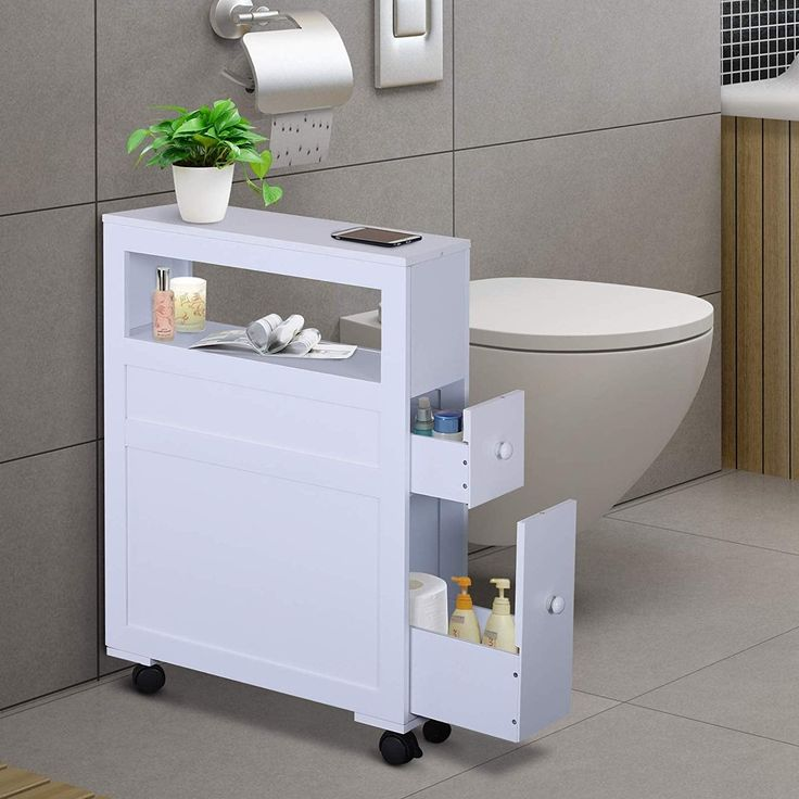 Wood Rolling Narrow Bathroom Side Storage in 2020
