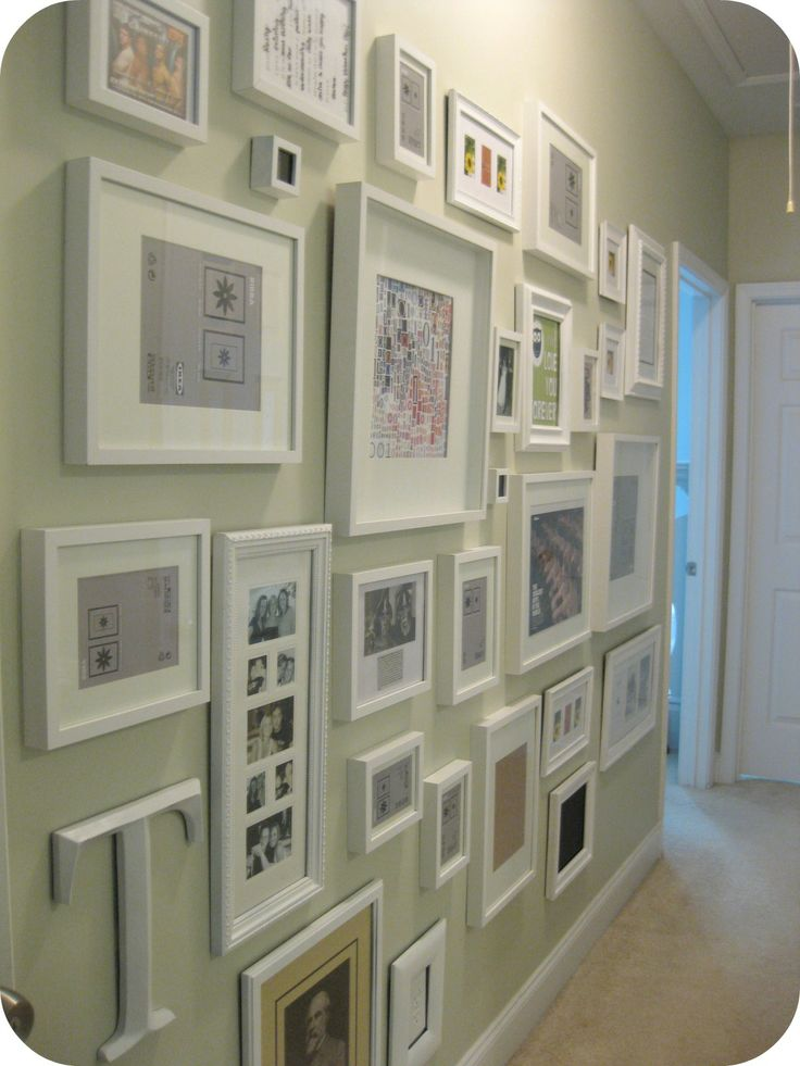Full gallery wall of pictures - from the floor to the top of the door frame. Not if you have children, pets or a klutz in the house.