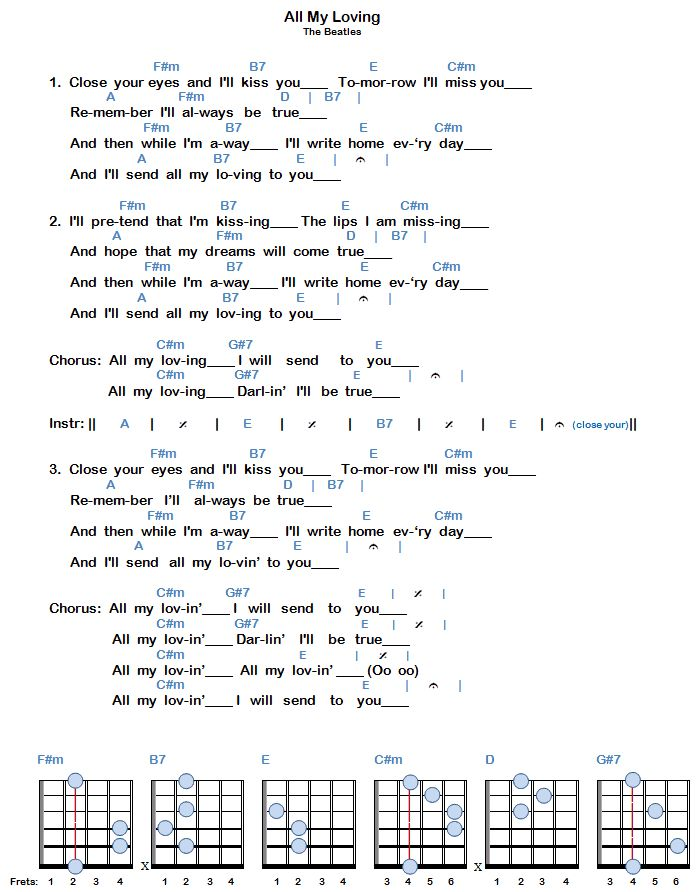 Outstanding All My Lovin Chords Ensign - Basic Guitar Chords For ...