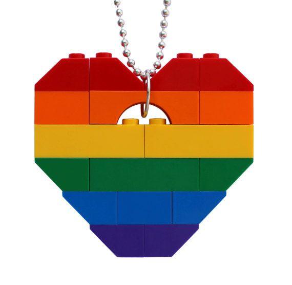 SWAG Hip Hop Rainbow necklace  Chunky heart by MademoiselleAlma #MademoiselleAlma #LEGO #ETSY