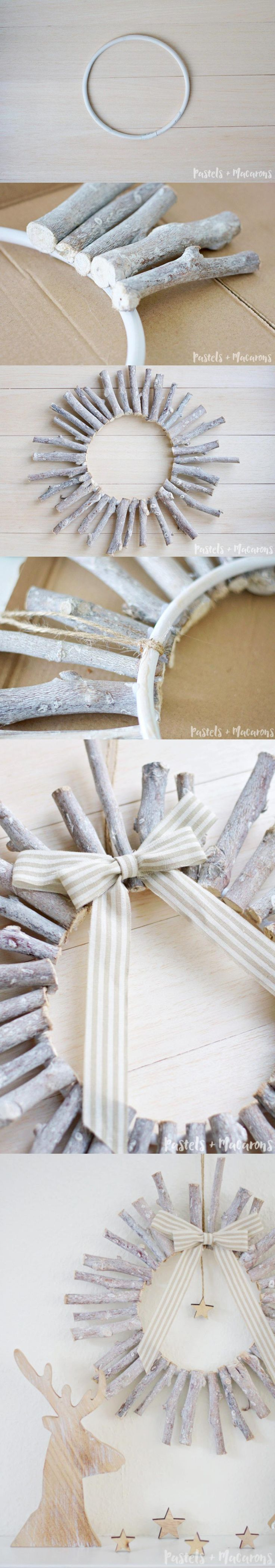 Corona de madera navideña - makingitinthemountains.com - DIY Christmas Wreath