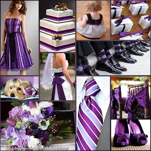 Thinking black, purple and silver!!!! What ya think? :  wedding Purple Stripes   Bows Wedding Inspiration Board