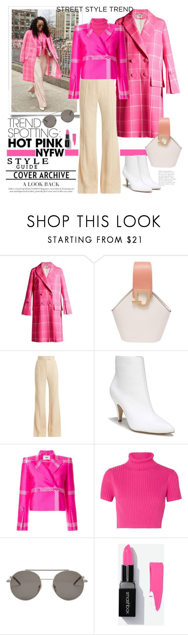 """""""Shop It! Fashion Week Street Style Hot Pink"""" by ellie366 on Polyvore featuring Fendi, Danse Lente, Khaite, Carlos by Carlos Santana, Staud, widelegpants, contestentry, nyfwstreetstyle, statementcoats and NYFWHotPink"""