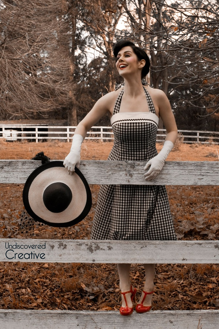 100% cotton black and white gingham 1950s style dress by 3rd Avenue.