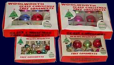 Glass ornaments in assorted sizes, made in occupied Japan and sold in F. W. Woolworth stores in Britain, Germany, the USA and Canada in the late 1940s and early 1950s