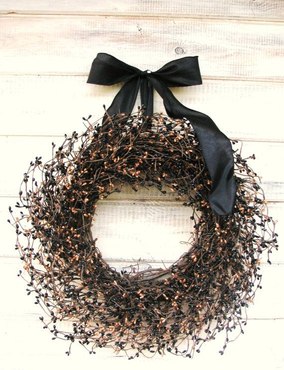 PRIMITIVE COUNTRY Black & Tan Door WreathAutumn by WildRidgeDesign..I likely...