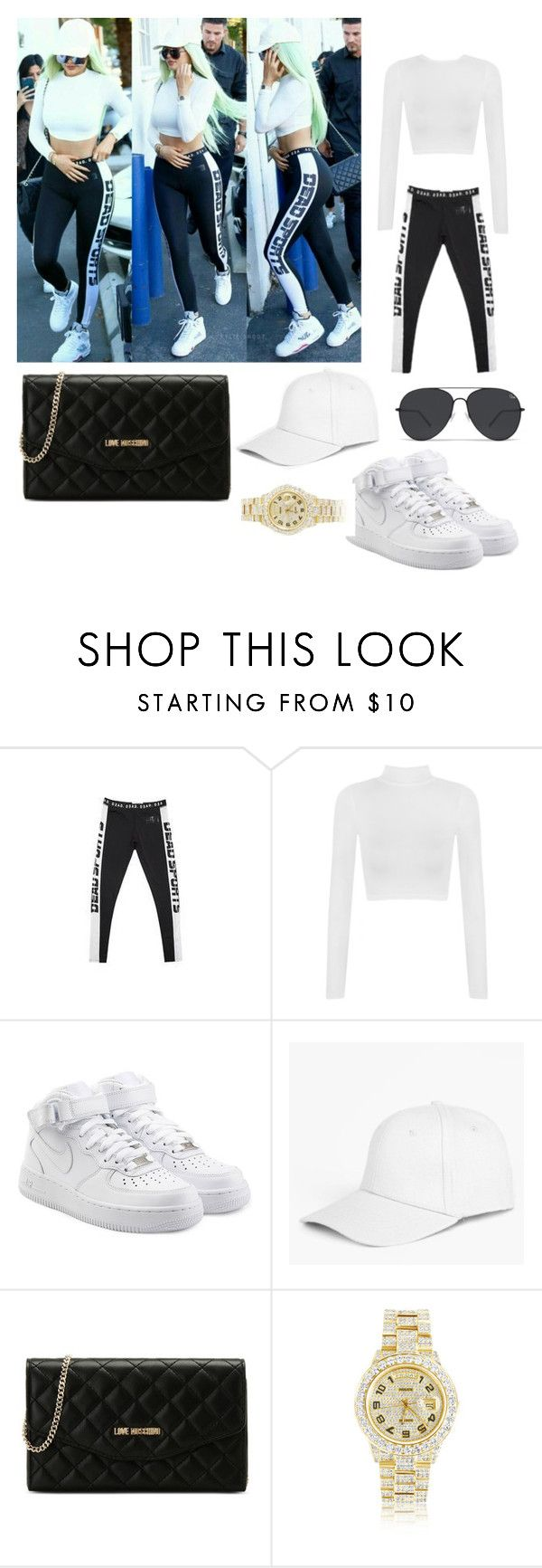 """Kylie Jenner street style, steal her style"" by simina650 ❤ liked on Polyvore featuring WearAll, NIKE, Boohoo, Love Moschino and Rolex"