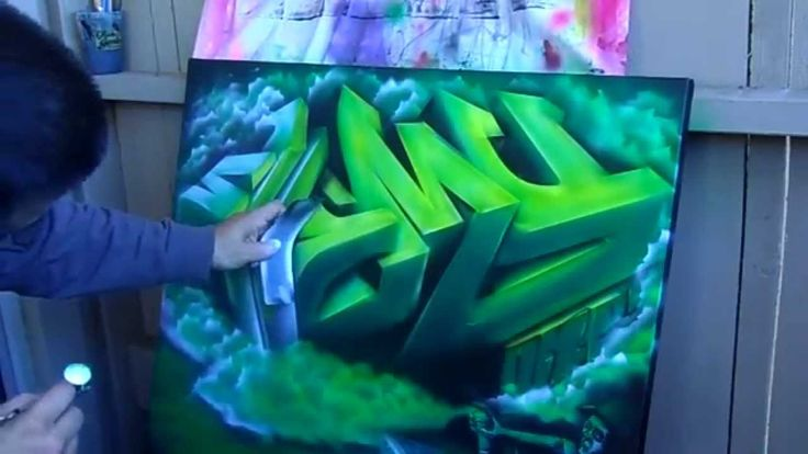 3D Graffiti painting on canvas (speed painting) iwata Eclipse HP-CS