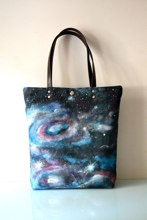 Hand Painted Galaxy Canvas Tote Canvas and by BarbaLeatherStudio