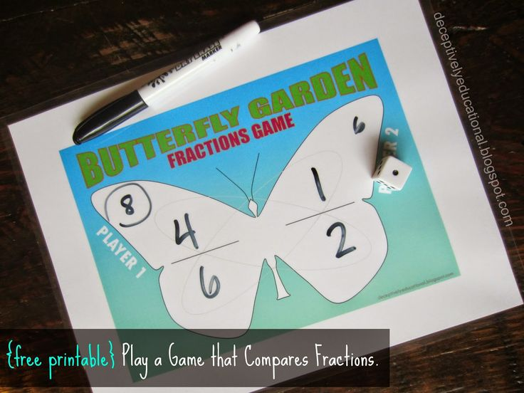 relentlessly fun deceptively educational butterfly garden a comparing fractions game print. Black Bedroom Furniture Sets. Home Design Ideas