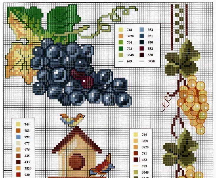 punto de cruz uvas mantel - Buscar con Google