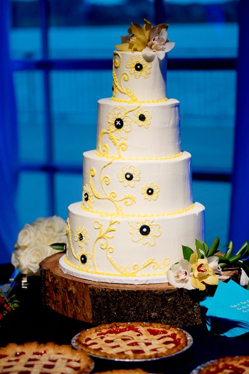Rustic Yellow Lace Wedding Cake Sugar Bee Sweets