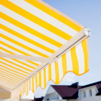 Striped retractable #awning