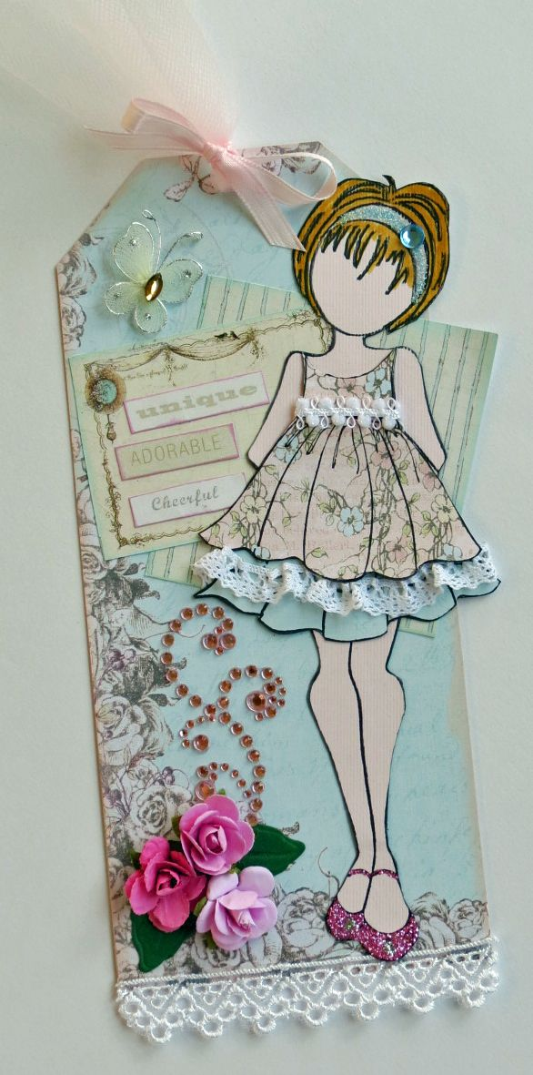 "I made this tag for a Julie Nutting Tag Swap Pink  Blue ""You Are"" JN Doll One Tag - Scrapbook.com ♡"