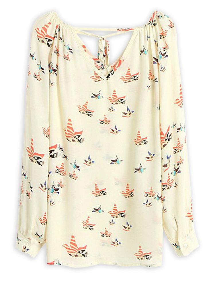 Cut Out V-neck Pigeon Print Chiffon T-shirt | Choies