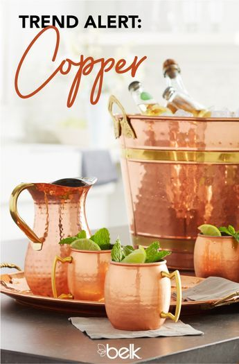 Serve up some shine with this season's hottest décor trend: copper kitchen accessories. Copper serveware like pitchers, serving trays and tongs make entertaining not only easy, but stylish, too. Even if you don't entertain often, copper kitchenware is functional for everyday use, and it will add a sophisticated touch to any kitchen or dining space. Shop Old Dutch serveware in store or online at Belk.com