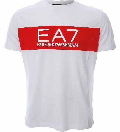 Armani EA7 T-shirt This plain white t-shirt features a red stripe with words Emporio Armani across the chest and also EA7 in white across the front Colour: White  Red Fabric: 100% Cotton Care: Machine Washable http://www.comparestoreprices.co.uk/t-shirts/armani-ea7-t-shirt.asp