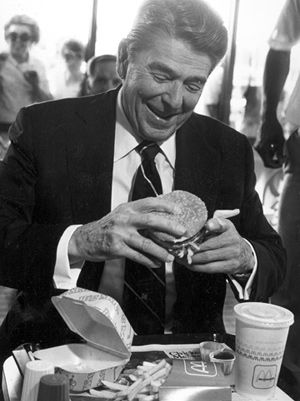 This is my favorite photo of Ronald Reagan. He wasn't a McDonald's fan, but he was having fun and it shows.