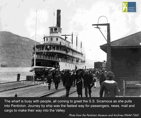 Penticton Wharf and Railway Station - busy as crowds come to greet the SS Sicamous as the ship docks. Photo from the Penticton Museum and Archives.