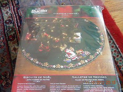 Bucilla Christmas Cookies Felt Tree Skirt Kit - Santa Elf Making Cookies