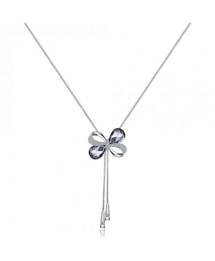 Ouruora Bowknot With Gray Petals Chain Necklace