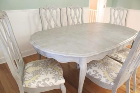 chalk paint dining table french gray | Annie Sloan Dining Table Reveal | Drab to Fab Design this is what the table would look like painted....would redo the cushions too