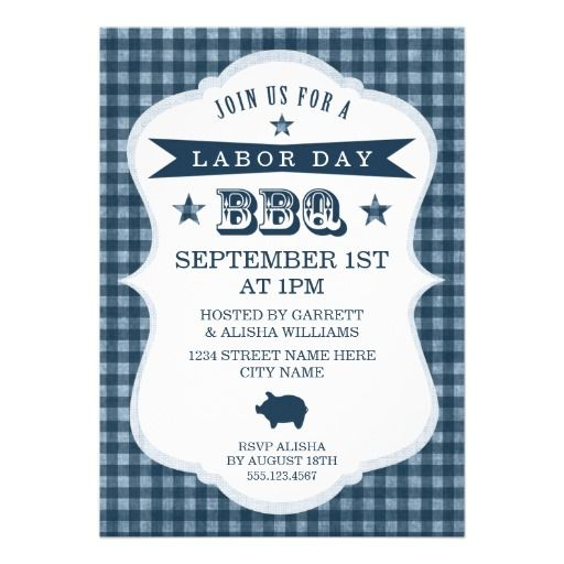 Blue Gingham Labor Day BBQ Invitation