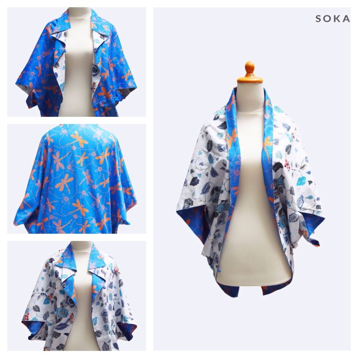 $22 Two side kimono jacket with batik printed pattern #batik #fashion #womenfashion