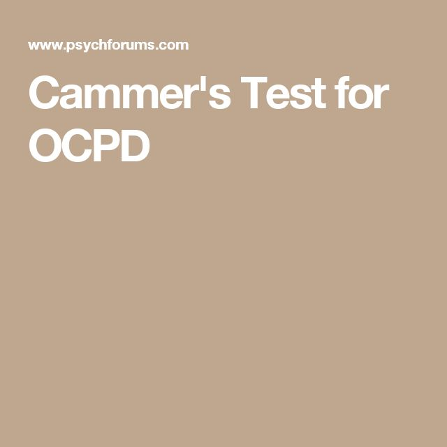 Cammer's Test for OCPD
