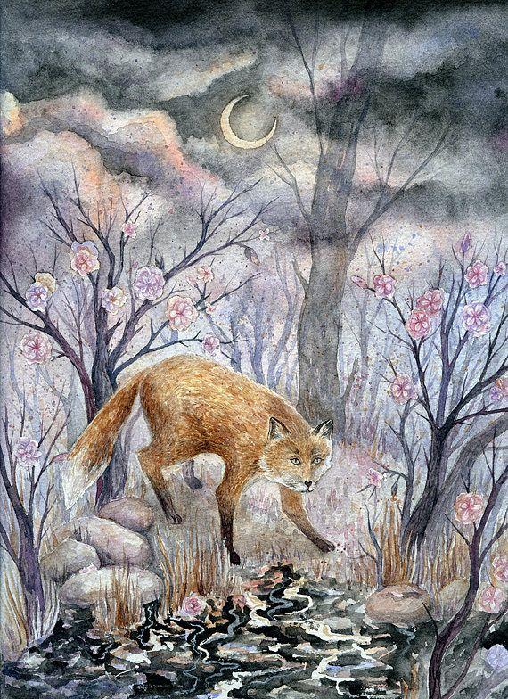 Original watercolor fantasy illustration of fox near the river