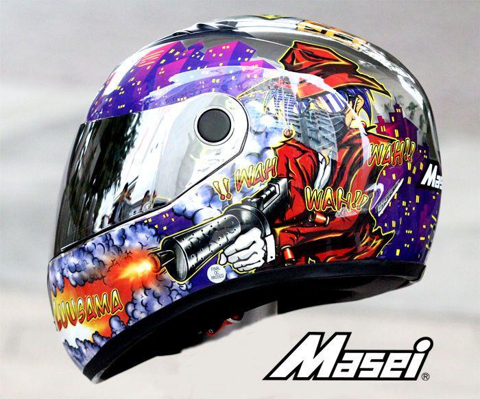 MASEI 832 LUUSAMA DOT MOTORCYCLE HELMET CHROME SILVER M L XL