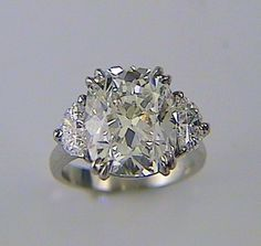 Cushion Cut Diamond Engagement Ring with Half-Moon sides