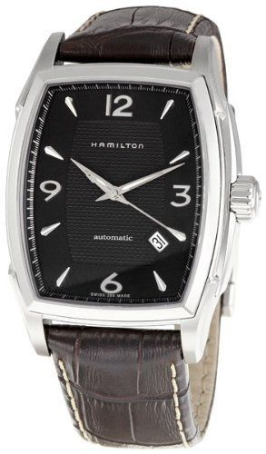 Hamilton Men's H36415535 Jazzmaster Tonneau Black Dial Watch Hamilton. $440.48. Stainless-steel case. Water-resistant to 165 feet (50 M). Durable sapphire crystal. Automatic movement. Case diameter: 42 mm