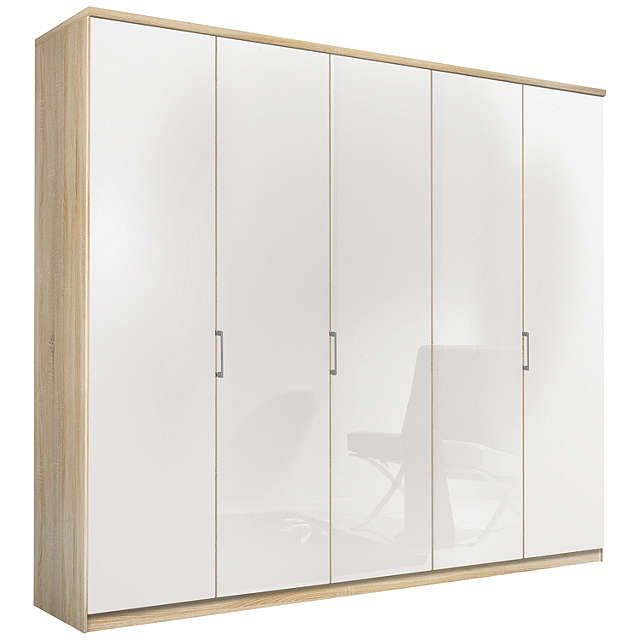 BuyJohn Lewis Elstra 250cm Wardrobe with Glass Hinged Doors, White Glass/Light Rustic Oak Online at johnlewis.com