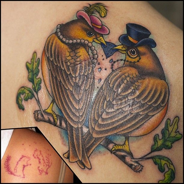 Fancy Finches. Artist: Megan Massacre of LA Ink / America's Worst Tattoo on TLC